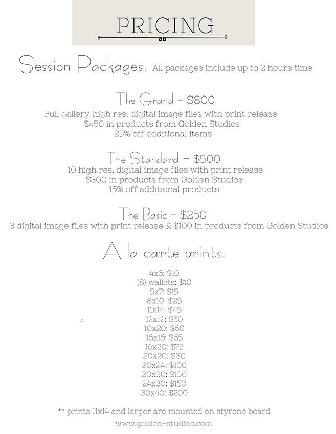 Pricing [Session Fee & A La Carte]